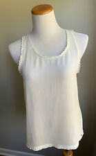 Abercrombie & Fitch Ivory Lace Scallop Sheer Delicate Top Size L Women's