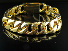 Mens Miami Cuban Franco Yellow Gold Finished Bracelet 15mm 9""