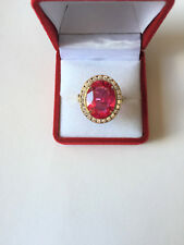 14K Solid Gold Women Ring Oval Red CZ size 7.75