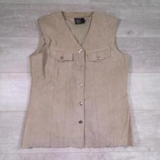 Ladies Vintage Beige SUEDE WAISTCOAT Boho Vest Festival XL #A3995