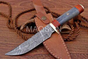 Damast Messer Damaszener Stahl Jagd Knife Damascus Hunting Bowie 718EA