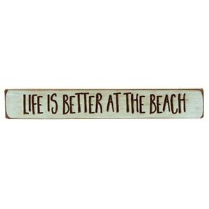 """Life Is Better At The Beach Engraved Wood Sign / Block 12"""" Long Robin's Egg Blue"""