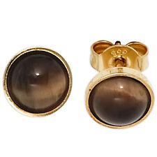 NEU Ohrstecker Ohrringe 333 echt Gold Gelbgold 8 Karat Tigerauge Ø 6,8 mm
