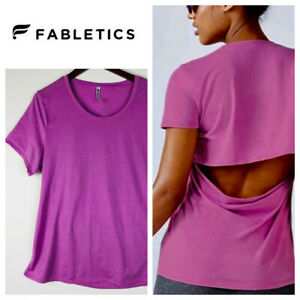 Fabletics Open Back T-Shirt Tee Top 1X 16 18 Purple Lilac Workout Athletic   oo