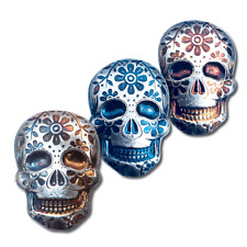 1 - 2 oz. 999 Fine Silver Sugar Skull - Day of the Dead - Marigold- 3-D -New