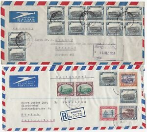 ! 1945/53 2 x SOUTH WEST AFRICA COVERS TO GERMANY & REGISTERED TO SWITZERLAND
