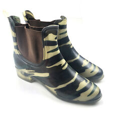 Shoes of Soul SOS Camo Tan Green Print Women's Rain Boots Pull On Size 9