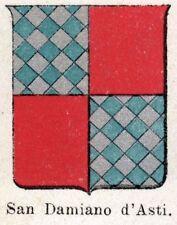 Stemma del Comune di SAN DAMIANO D'ASTI.Cromolitografia.Monferrato.Piemonte.1901