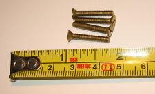 "4 Solid Brass Clock/Gun/Machine Screws Flat Slotted 4/48 thread 3/4"" Long NOS"