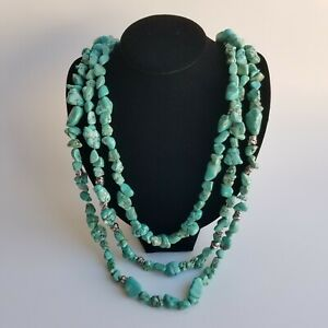 Lucky Brand Multistrand Faux Turquoise Necklace Chunky Statement Boho