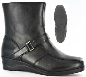 Ladies Black Softie Leather Ankle Side zip Boots Size UK 3 - 8