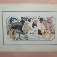 Vtg New Dimensions Purrfect Garden Cats Counted Cross Stitch Kit Eileen Hayes