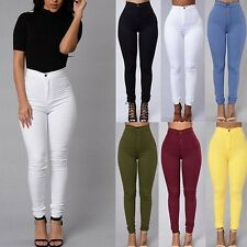 Donna Matita Elastico Casuale Jeans Denim Skinny Pantaloni Vita Alta Compiaciuto