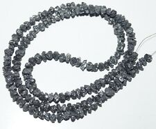 "40 ct 4-5MM Natural Black Rough Diamond Beads Loose Diamond Bead 16"" Necklace **"