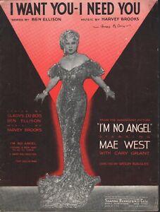 I Want You I Need You 1933 Mae West I'm No Angel Sheet Music