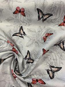 Wilmington Prints Le Bouquet Ditsy Floral Butterfly 100% Cotton Fabric Half Mtr