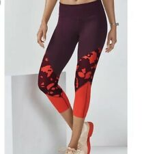 Fabletics Women's Size S Red Salar Statement PowerHold Capri Leggings