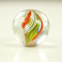 Glas Murmel Lauscha Antik 23mm, Doppelabriss um 1900 mehrfarbige Kern Swirls