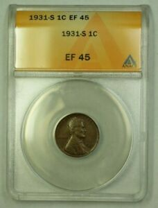 1931-S Lincoln Wheat Cent 1c ANACS EF-45 (J) (WW)