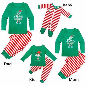 Family Matching Xmas Christmas Pyjamas Adult Kids Baby Green Nightwear PJs Set