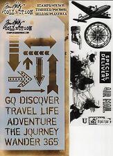 Tim Holtz Mixed Media Stencil & Stamp Pack - Plane, Air Mail, Travel, Compass