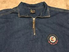 Vintage 90s KARL KANI SPORT Blue Denim 1/4 Zip Shirt Adult Size 2XL 2PAC HUGE!
