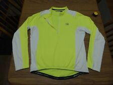 Nishiki Cycling Shirt Jersey Men's Large Lime Green White Hi Vis Good Pre Owned