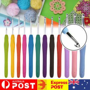12pcs Soft handle Crochet Hooks Yarn Knitting Needles Sets Grip Sewing Tools AU