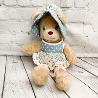 Vtg KnickerBocker Animals Of Distinction Teddy Bear Plush Bonnet Apron Pink Blue