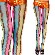 Retro/Vintage Neon Zig Zag Wave Striped Net Rainbow Pantyhose Tights Rave Club