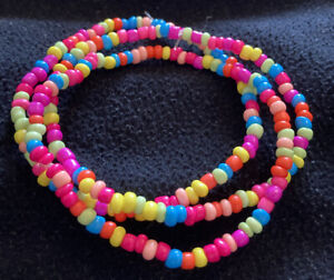 Neon Multi Colour Bead Stretchy Ankle Bracelet Anklet - Free Post