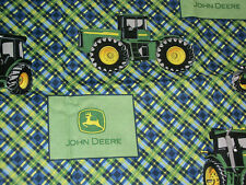 John Deere ~~ Blue and Green Plaid Tractor Fabric ~~   18 X 42     Z2