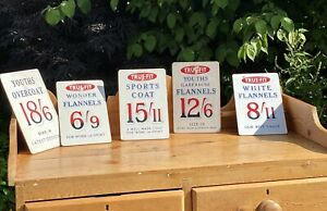Vintage Shop Advertising Display Cards, Point Of Sale Cards