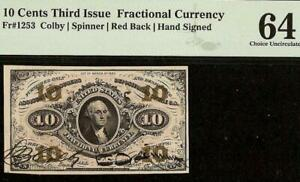 10 CENT HAND SIGNED AUTOGRAPHED RED BACK FRACTIONAL CURRENCY NOTE Fr 1253 PMG 64