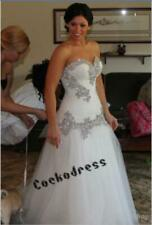 White/Ivory Crystals Tulle A Line Wedding Dress Sweetheart Lace-up Bridal Gown