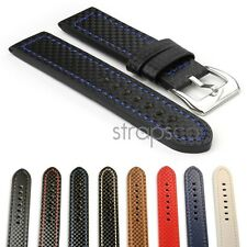 StrapsCo Thick Carbon Fiber Waterproof Watch Band Strap Mens