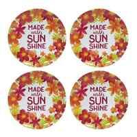 """Set of 4 Floral Melamine 9"""" Dessert, Snack, Salad Plate Set MADE WITH SUNSHINE"""
