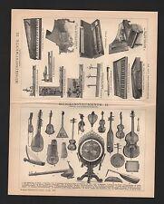 Lithografie 1897: MUSIK-INSTRUMENTE I-III. Tasten-Zupf-Blas-Saiten-Schlag-Blech