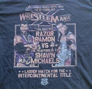 Wrestlemania 10 Shawn Michaels vs Razor Ramon Poster WWE Official Black Shirt L