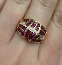 14K Solid Yellow Gold Cluster Band Diamond Ring With Natural Round  Ruby,Sz 8