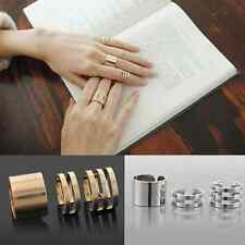 3Pcs Fashion Gold Silver Plain Above Knuckle Ring Band Middle Midi Ring Women CA