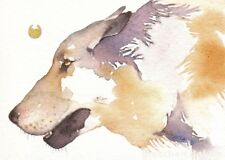 ACEO Giclee PRINT watercolor 2.5 x 3.5 spirit animal RUNNING WITH WOLVES