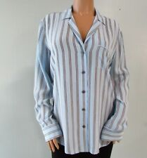 Equipment Striped Long Sleeve Silk Button Down Light Blue Size L
