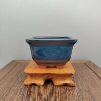 Chinese Bonsai Cactus Succulent Pot Blue Glazed Flowerpot Landscaping Decoration