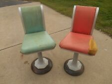 Pair 1920s Industrial Steam Punk Ice Cream Parlor / Soda Fountain Swivel Stools