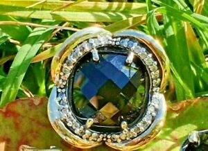 Women Ring Steraling Siver and Gold with Black Stone CZ Gorgeus!!