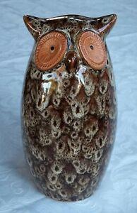 LOVELY VINTAGE GLAZED TERRACOTTA OWL FIGURE 19CM TALL