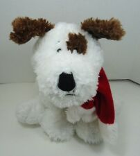 Ganz Brown & White Puppy Dog Plush Sparkie w Christmas Stocking Red Scarf