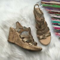 b.o.c. Born Concept Metallic Gold Leather Wedge Sandals 9 / 40.5 Strappy C58018