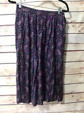 Sag Harbor Size 11/12 Floral Skirt Paisley Pleated Elastic Waist Rayon Pink Mult